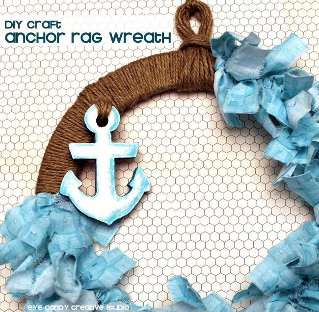 anchor, beach theme wreath, how to make a rag wreath, nautical wreath