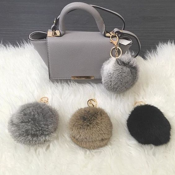 Cute Pom Pom Furr Ball Key Rings For Bags