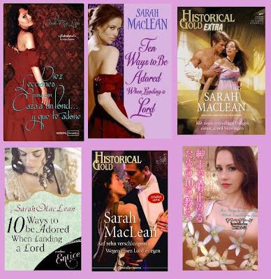 portadas de la novela romántica histórica Diez Lecciones para dar caza a un lord y que te adore, de Sarah MacLean