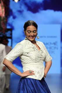 Sonakshi Sinha walks the ramp in a Long Blue designer Skirt and whtie Top At Lakme Fashion Week Summer Resort 2016