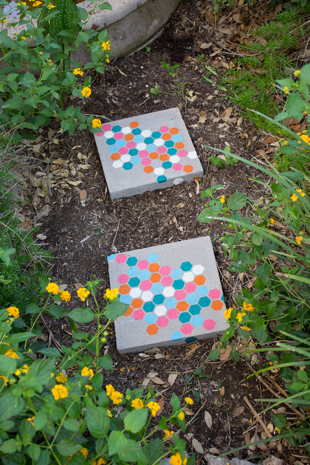 Stenciled Garden Stepping Stones