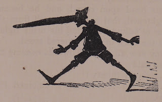 A sketched silhouette of a striding figure with an absurdly long nose.