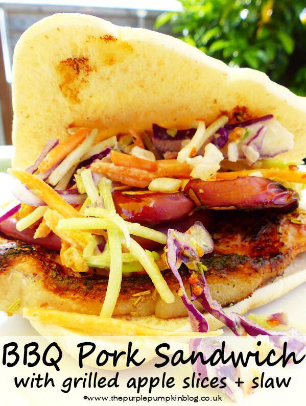BBQ Pork Sandwich with Grilled Apples Slaw