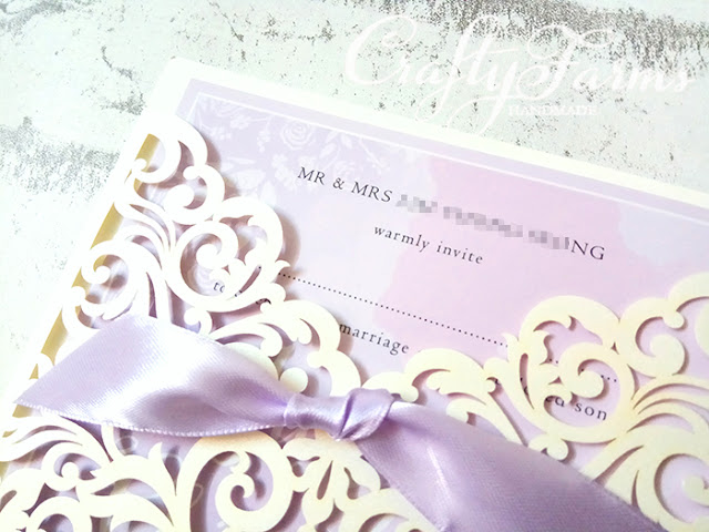 Lilac & Ivory Laser Cut Wedding Invitation Cards