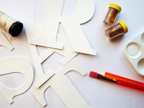 Materiales para hacer letras de cartón con brillo/escarcha/purpurina