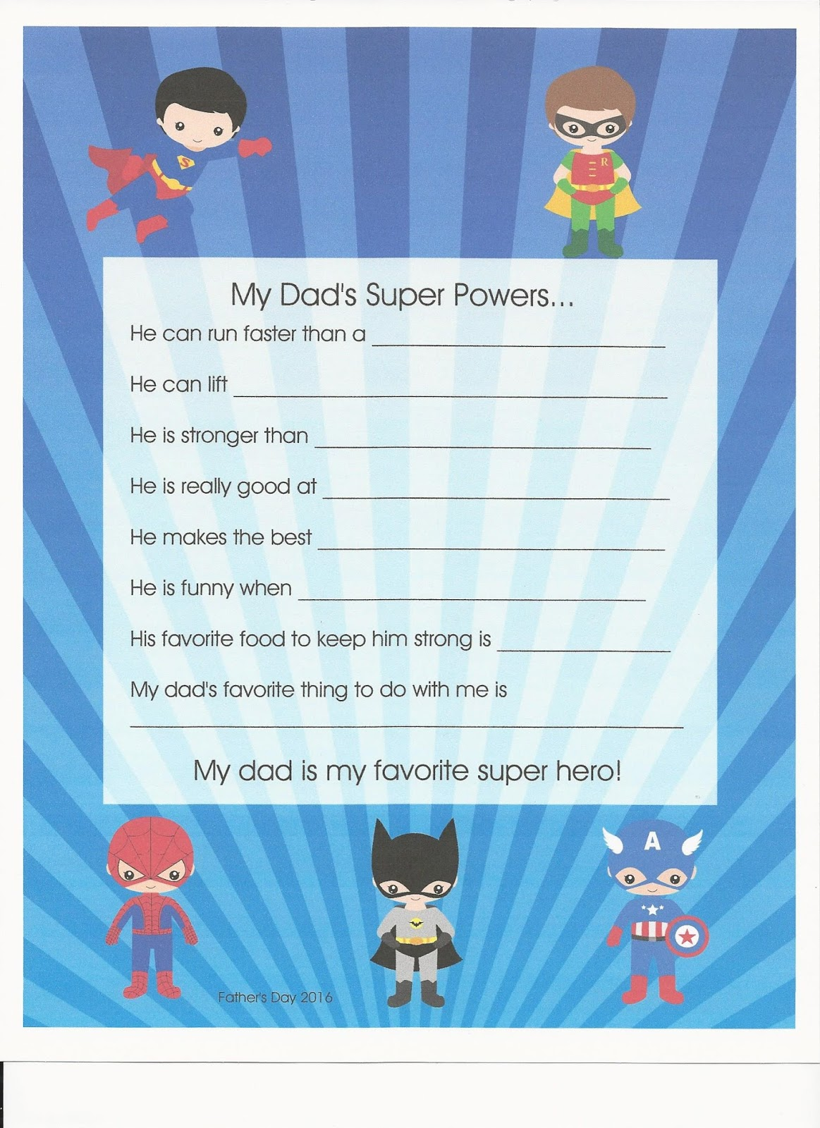 The Thoughtful Spot Day Care Father S Day Super Hero