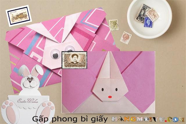 Hướng dẫn cách gấp, xếp cái phong bì thư hình con thỏ bằng giấy origami - How to make an origami rabbit's letter