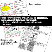 Physical Science Warm-Ups, Science Warm-Ups, Physical Science Bellwork, Science Bellwork, NGSS Bellwork, Science Bellringers