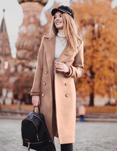 Palton lung frumos ieftin de iarna cu lana si nasturi mari Bej