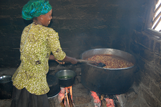 Wood stove cooking in Ghana