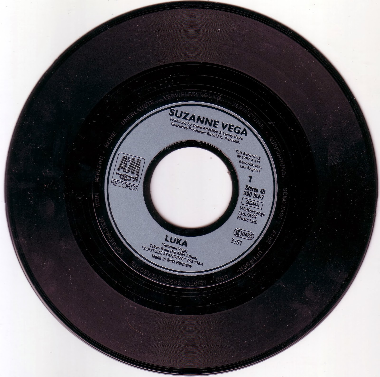 Vinyl Singlar Suzanne Vega Luka 1987