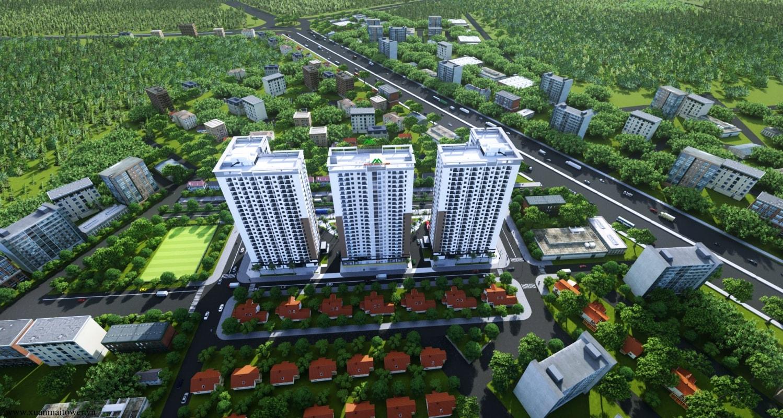 Tổng thể toà căn hộ chung cư Xuân Mai Thanh Hoá