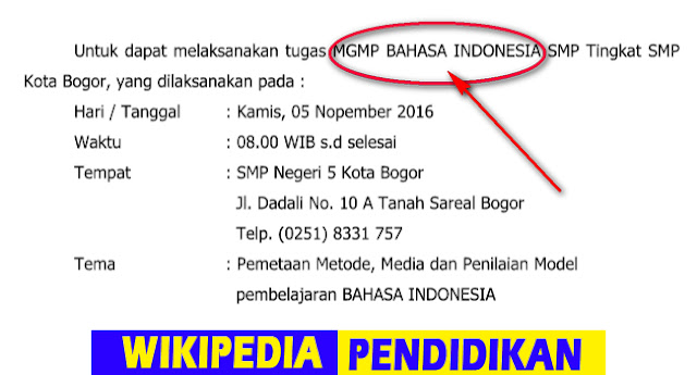 Contoh Surat Tugas MGMP Bahasa Indonesia Format Doc