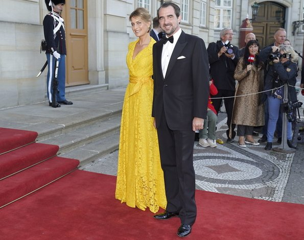 Crown Princess Mary wore a gown by Jesper Høvring. Princess Marie wore a gown by Rikke Gudnitz. Princess Isabella, Princess Alexandra