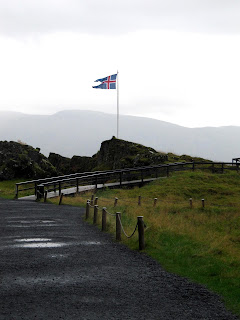 Flagge Island, Þingvellir Thingvellir, Island, Iceland, Erstes Parlament