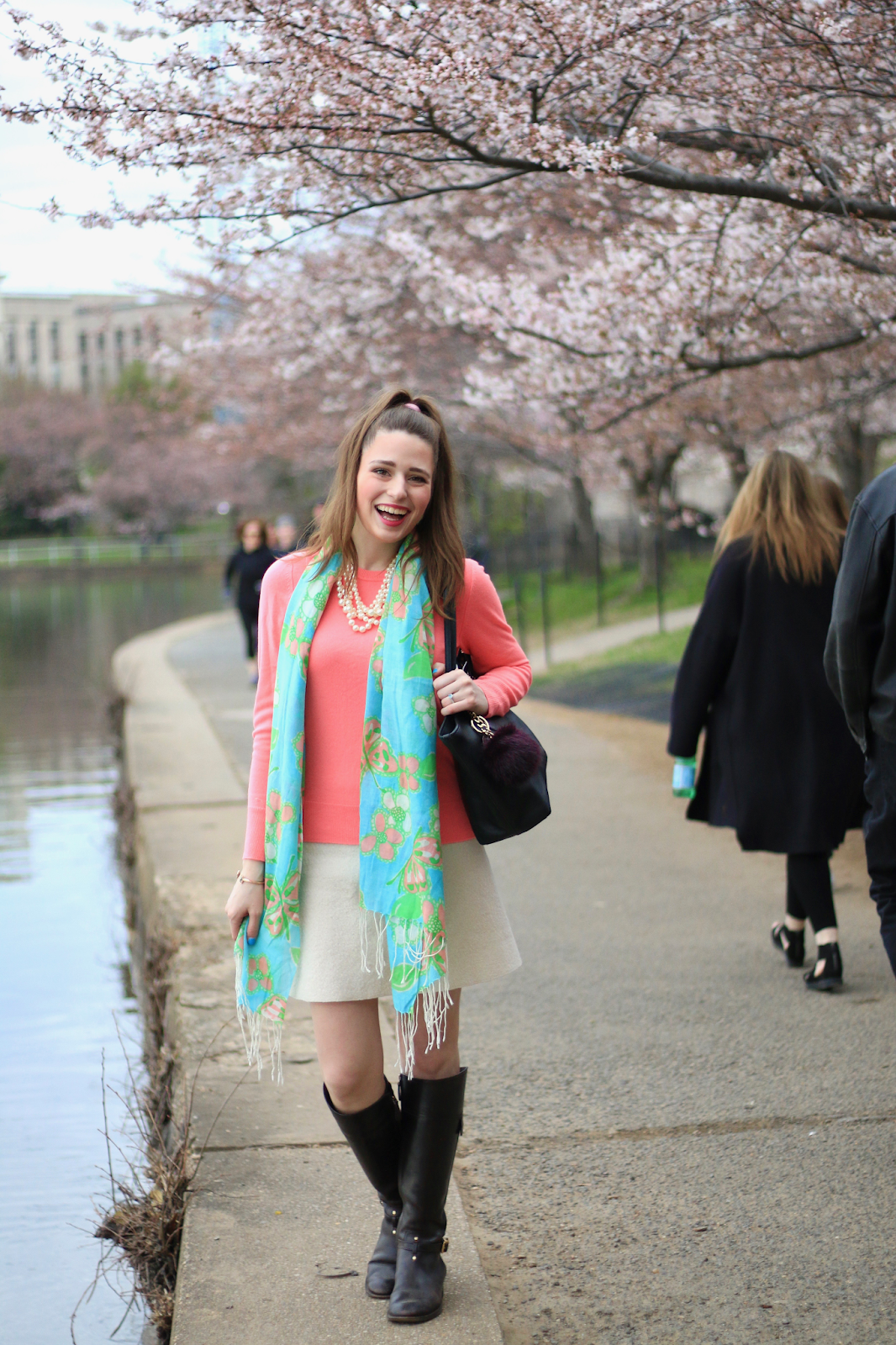 Cold Weather Preppy Easter Look DC Cherry Blossoms