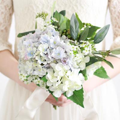 紫陽花のブーケ(青)-ウェディングブーケと花髪飾りairaka