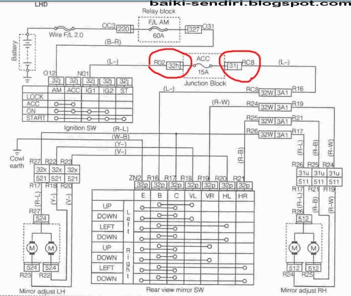 L7 Wiring Diagram Carrier Heat Pump Daihatsu Mira L5 31 Images Coure Perodua Kelisa Auto Flip Side Mirror Back Rear Circuit Connection Switch