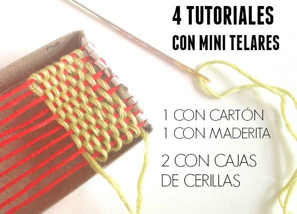 4 Telares en miniatura con caja de cerillas, carton y madera