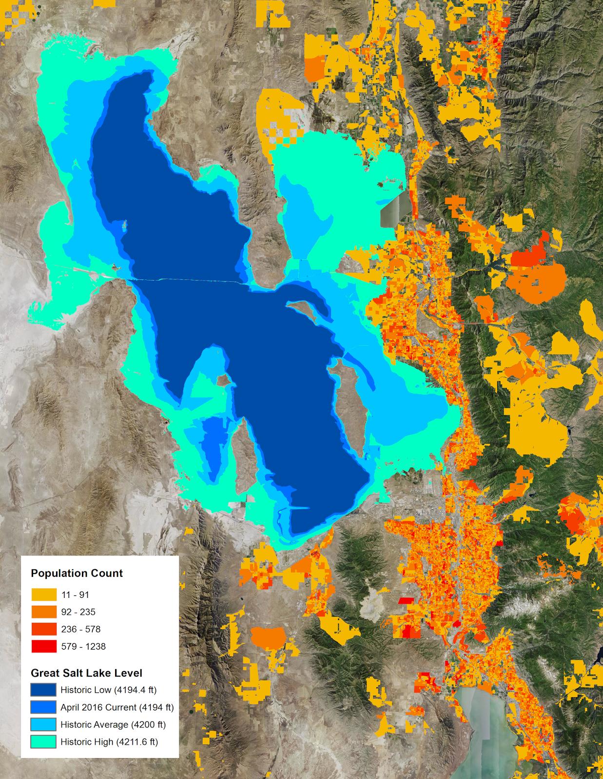great salt lake levels with wildland urban interface wui population data