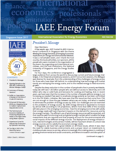 Energy Forum Special Issue 40th IAEE Int. Conference Singapore