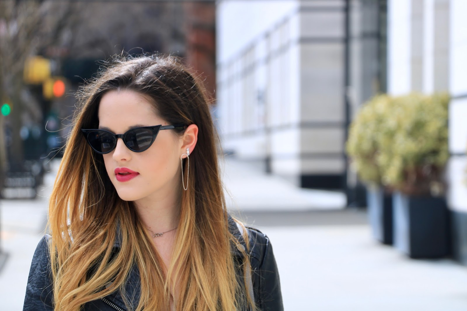 Nyc fashion blogger Kathleen Harper wearing Urban Outfitters cat eye sunglasses