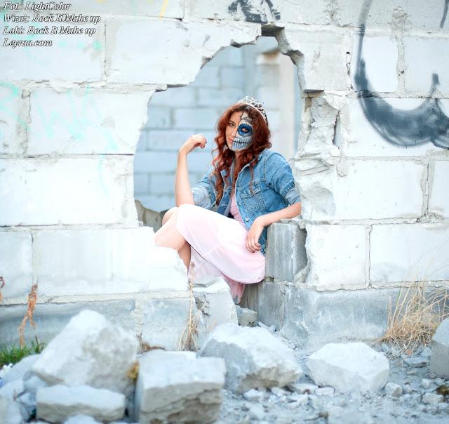 12.07.17 Pastelowy róż sukienka rozkloszowana, białe trampki, jeansowa katana, wisiorek gwiazdka, Muerte make up, Opuszczona galeria Mielec