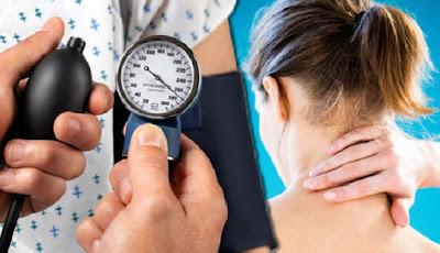 Gejala tekanan darah tinggi di leher.