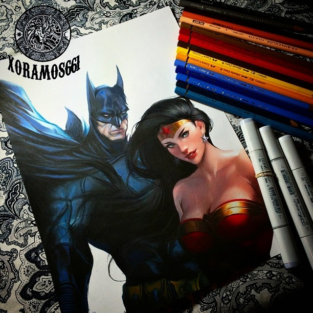 01-Batman-and-Wonder-Woman-Ramos-Ruben-xoramos661-Photo-Real-Comic-Book-Coloured-Drawings-www-designstack-co