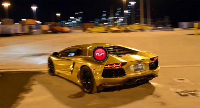 Flogging A Gold Finished Lamborghini Aventador Around An Empty Port Looks  Fun