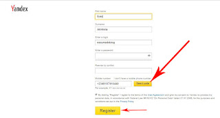 register on Yandex