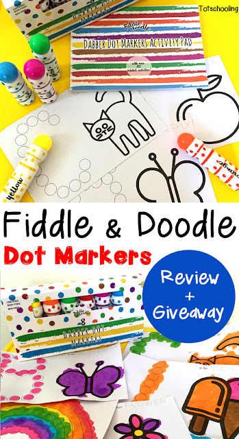 Review of a fabulous new brand of dot markers from Fiddle & Doodle. Comes with early learning activity sheets for easy, mess-free activities for toddlers, preschoolers and kindergartners.