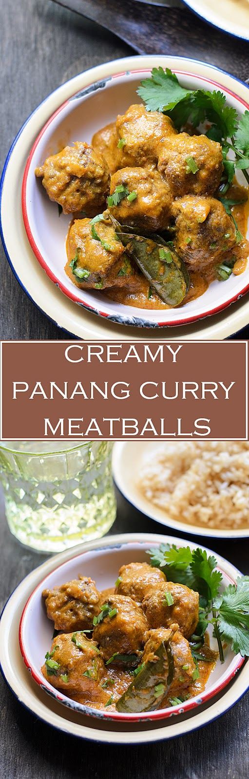 Meatballs in creamy nutty red curry sauce