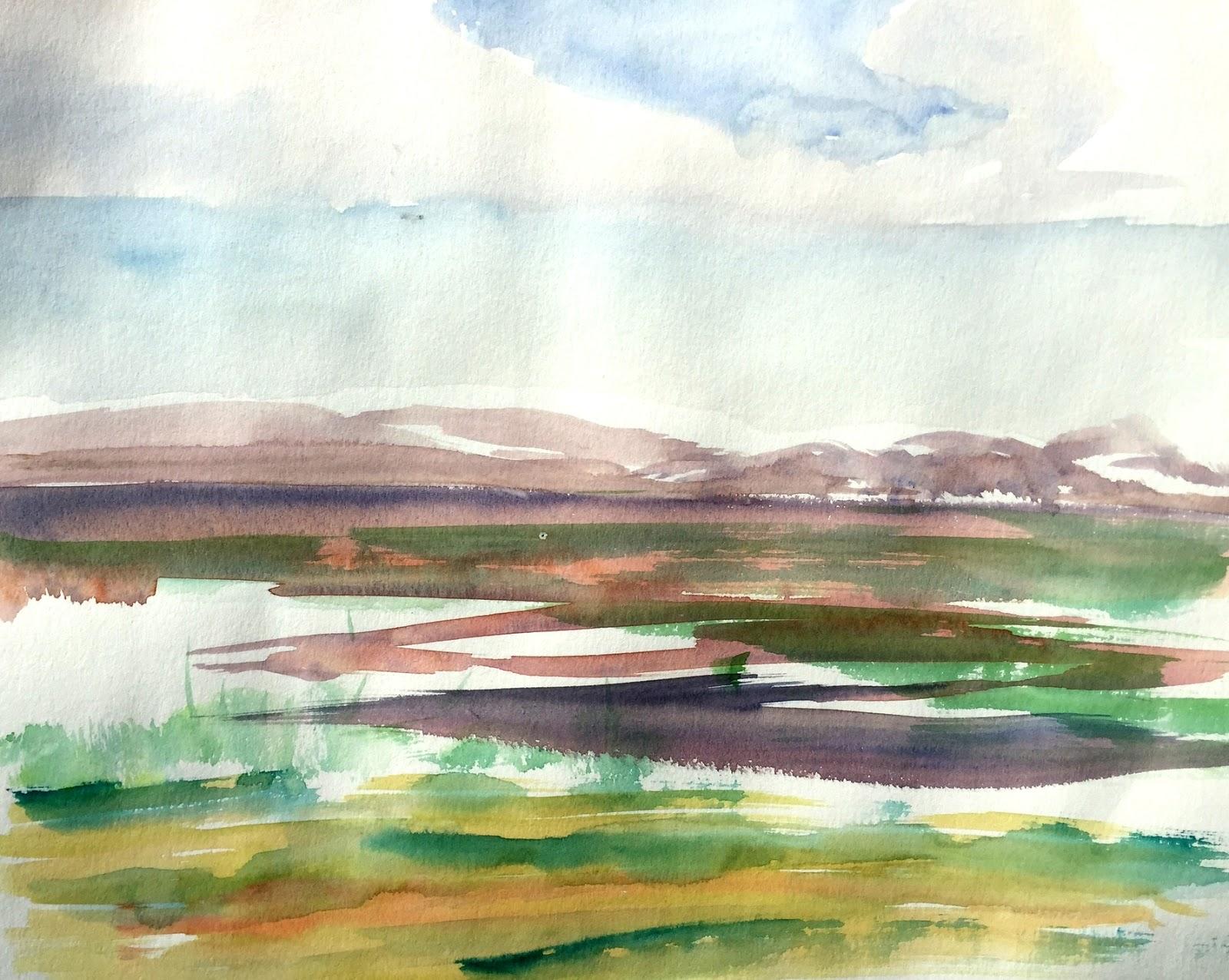 Lapland Watercolor Landscape by Artmagenta
