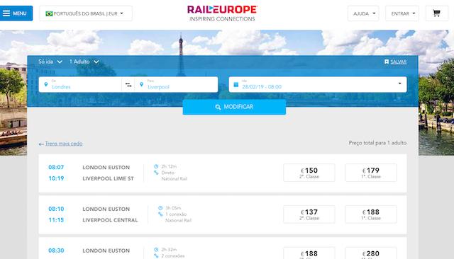 Pesquisador de trens Europa: viagem de Londres a Liverpool