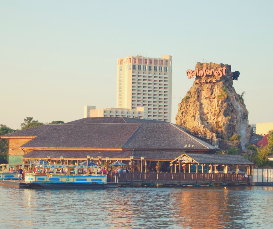 Rainforest Cafe from across the lake at Disney Springs in Walt Disney World