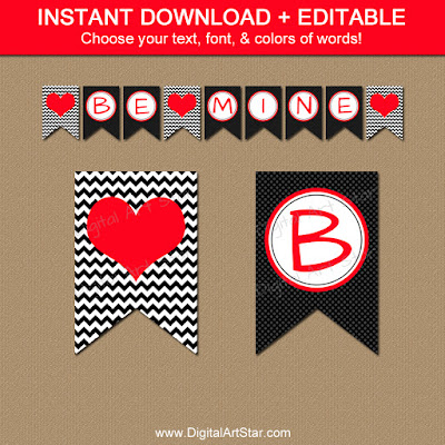 printable valentine banner party decorations