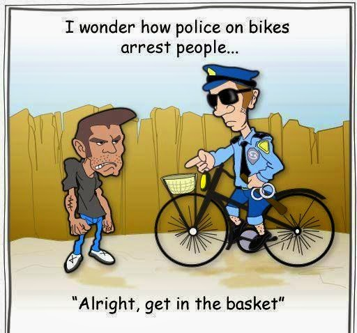 Funny Police Bike Arrest Cartoon Joke Picture