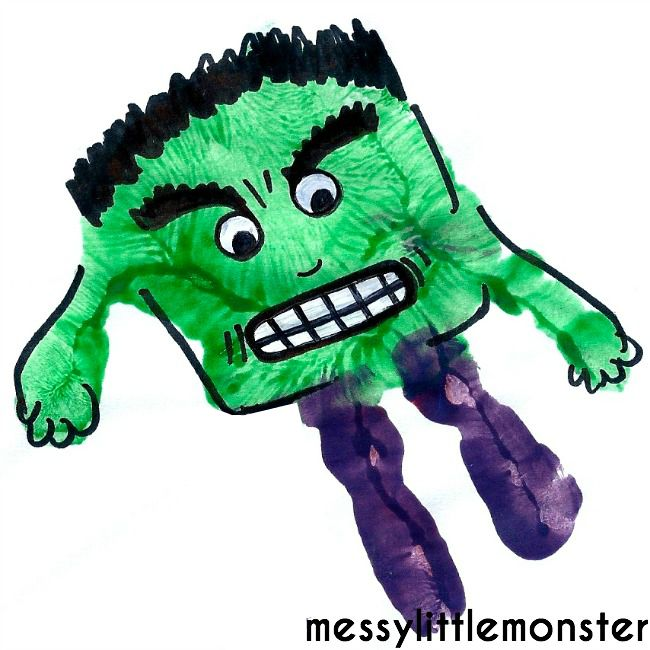 Hulk handprint instructions.  Superhero craft for kids.