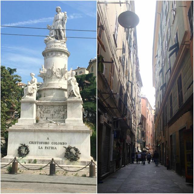 Atrações de Gênova - monumento a Cristóvão Colombo e caruggi de Gênova