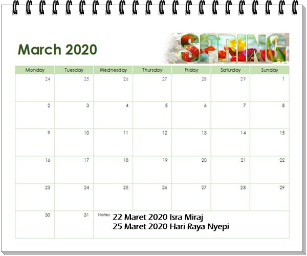kalender 2020 maret