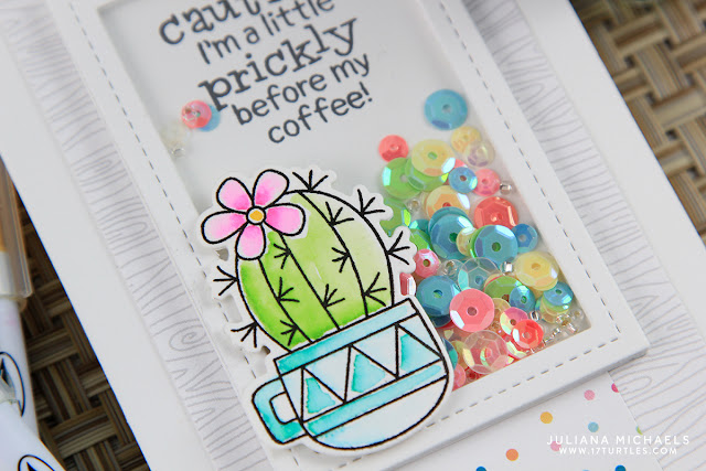 Prickly Before Coffee Shaker Card by Juliana Michaels featuring Newton's Nook Designs Cuppa Cactus