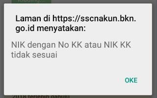 """NIK dengan No KK atau NIK KK tidak sesuai Data Tidak Ditemukan"""" Saat Registrasi CPNS 2019"""