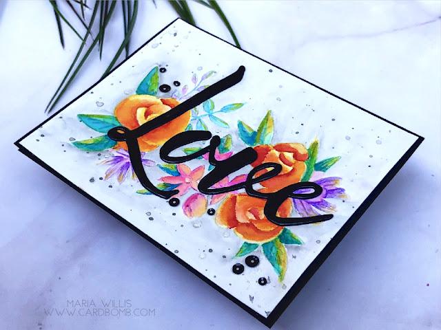 #cardbomb, #mariawillis, #cards, #handmade, #love, #concord&9th, #watercolor, #arteza, #artezarealbrushpens, #color, #art, #create, #craft, #paint,