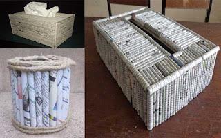 Kreasi Kerajinan Tangan Membuat Kotak Tisu Dari Kardus Dan Koran Bekas