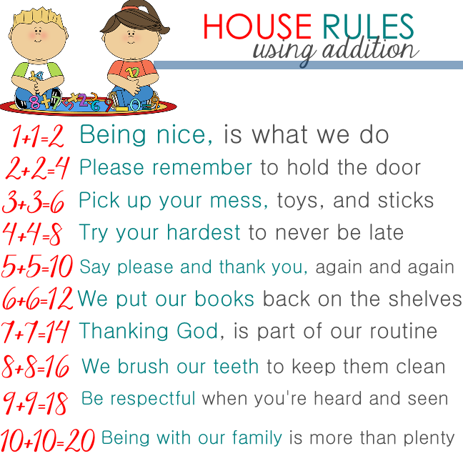 House rules using addition for toddlers from mrs to for House rules chart template