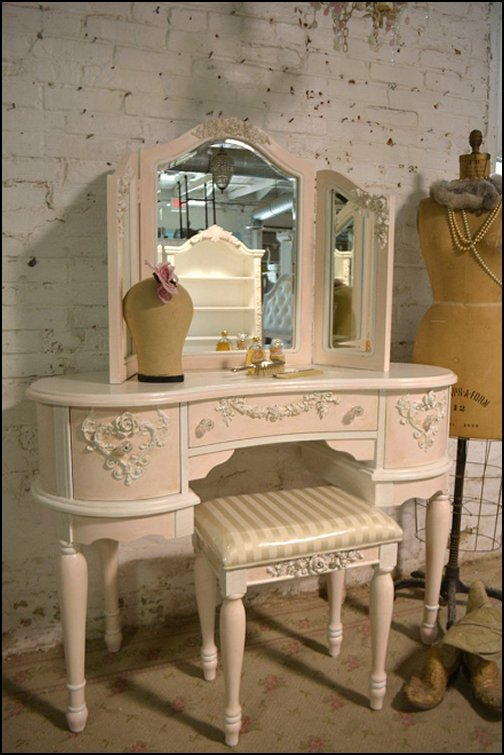 Chic Shabby Romantic Vanity and Mirror and Stool  Victorian Decorating ideas - Victorian bedroom ideas - Vintage decorating - Victorian Boudoir - Romantic Victorian Bedroom Decor - lace and ruffles bedding - floral bedding - Vintage decor - vintage themed bedroom for a girl - modern victorian bedroom ideas - Victorian bedroom furniture - victorian home decor -