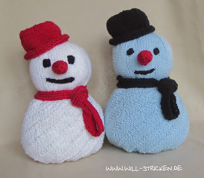 Schneemann stricken zum Kuscheln oder Dekorieren