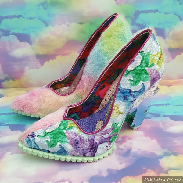 court shoes in split design with rainbow fluffy side and unicorn print on cloud background