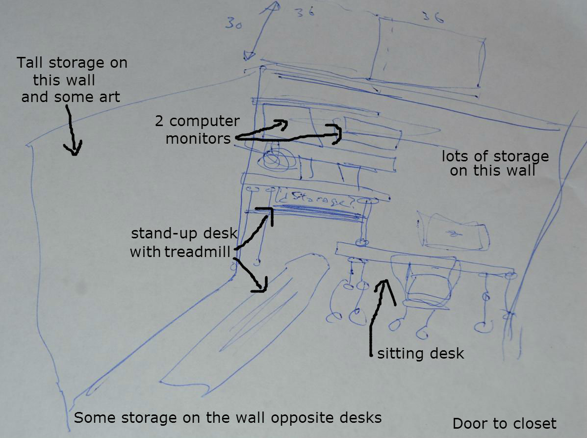 Never Listless First Floor Plans Part 6 Scotts Office Closet Desk Schematic Scott And I Did Plenty Of Research When Looking For The Perfect Stand Up Sit Down Him Specifically Asked Me Not To Waste My Time